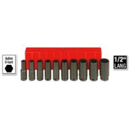 6 lapú gépi hosszú dugókulcs klt. 10-24mm, 10db